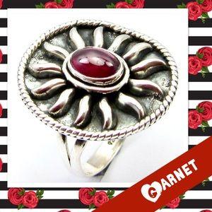 Garnet & Sterling Artisan Ring Red Size 7.25 NWOT